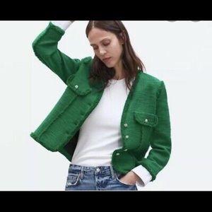 Zara Green Tweed Blazer